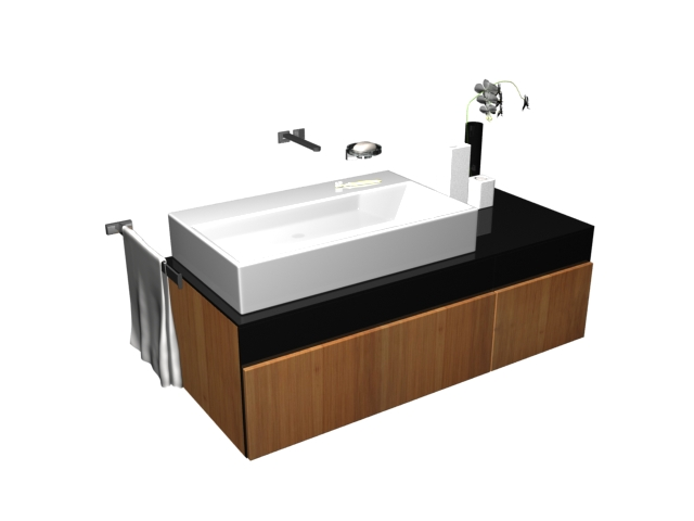 Vessel Vanity Sink Combo : This vessel sink vanity combo 3D model available in 3dsMax and V-ray ...