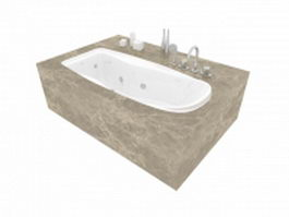 Marble base built in bathtub 3d model