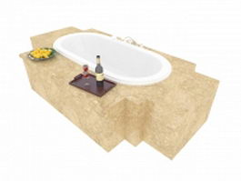 Drop in tub with marble surround 3d model