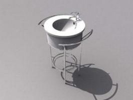 Round hand basin 3d model