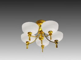 Simple brass chandelier 3d model