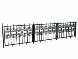 Antique wrought iron railing fence 3d model