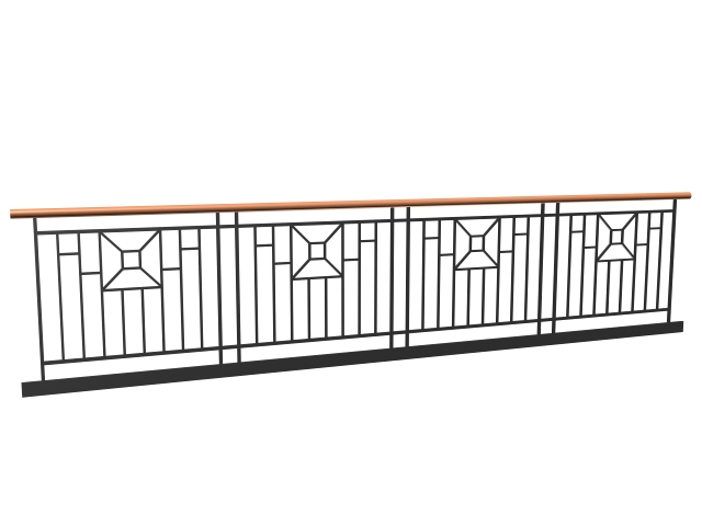Wrought Iron Street Railing 3d Model