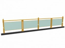 Exterior glass guardrail 3d model