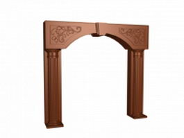 Carved wooden decorative door frame 3d model