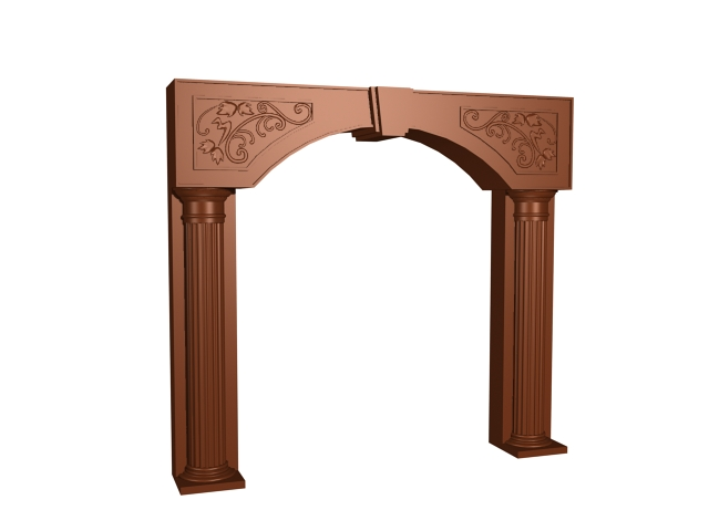 Carved wooden decorative door frame 3d model 3dsMax,3ds files free ...