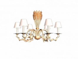 Chandelier lights with shades 3d model