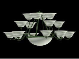 17 light bowl chandelier 3d model