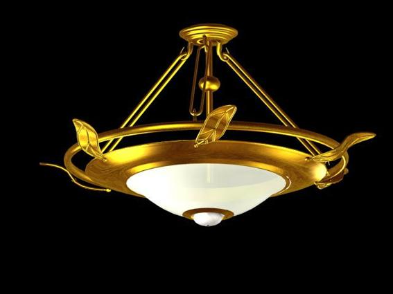 Brass bowl pendant chandelier 3d model