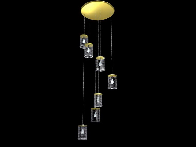 Modern crystal hanging lamps 3d model 3dsMax files free download ...