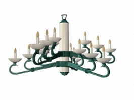 18 light candle chandelier 3d model