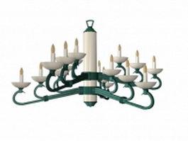 18 light candle chandelier 3d model