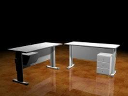 Office desks with cabinet 3d model