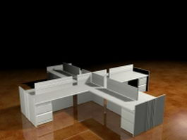 Modular office desk and cubicle 3d model