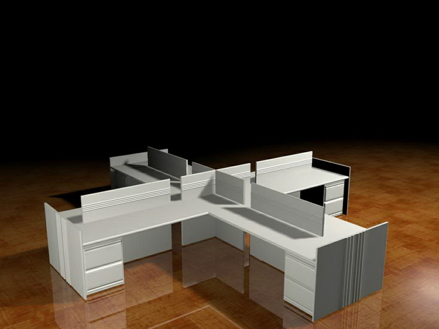 Modular office desk and cubicle 3d model 3dsMax files free