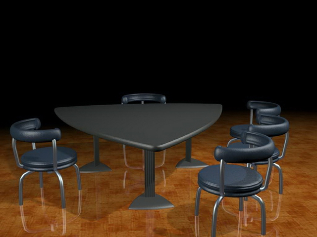 Triangle Conference Desk With Chairs 3d Model 3dsmax Files