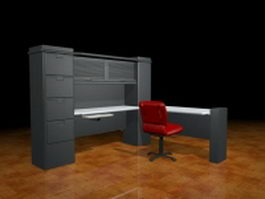 Workstation desk with cabinet and chair 3d model