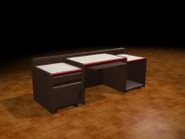 Office desk keyboard drawer 3d model