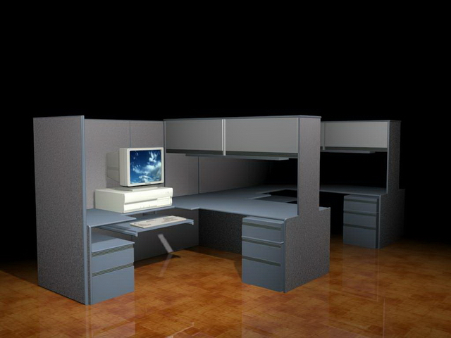 2 Person Office Cubicle 3d Model 3dsmax Files Free