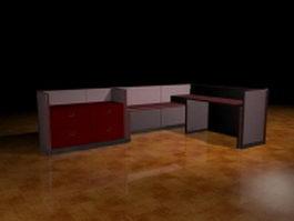 L shaped cubicle desk 3d model
