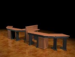 2 person workstation desk 3d model