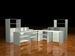 White office desk collection 3d model
