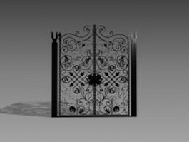 Antique wrought iron gate 3d model