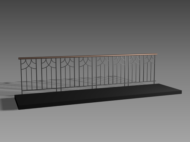 Balcony railing design 3d model 3dsmax 3ds autocad files for Balcony handrail design