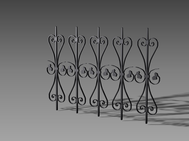 Wrought Iron Railing Grille Components 3d Model 3dsmax 3ds