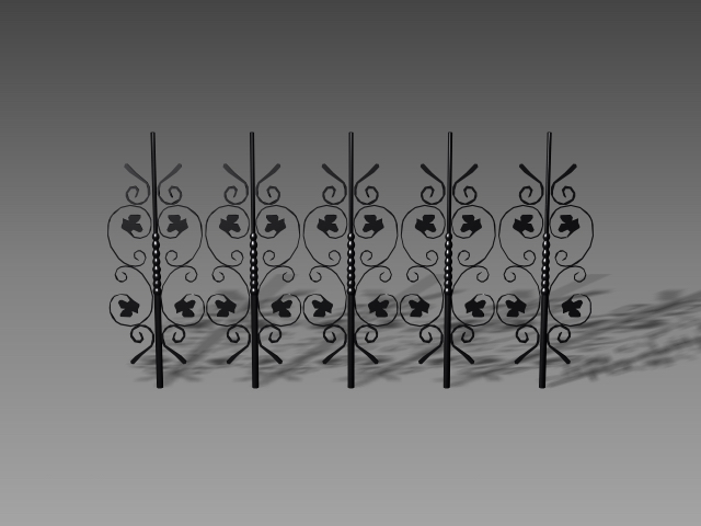 decorative wrought iron fence panels 3d model 3dsmax 3ds. Black Bedroom Furniture Sets. Home Design Ideas