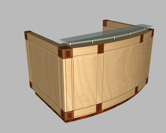 small office reception desk 3d model