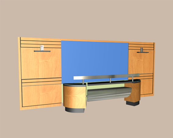 Front office desk with back wall 3d model 3dsMax files free ...