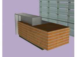 Reception counter with backdrop 3d model
