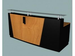 Office reception counter desk 3d model