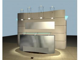 Modern reception counter with background 3d model