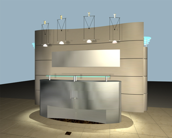 Modern Reception Counter With Background 3d Model 3dsmax