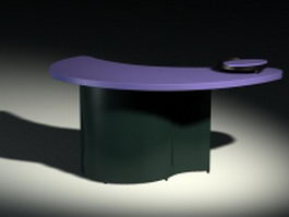 Crescent moon shape reception desk 3d model