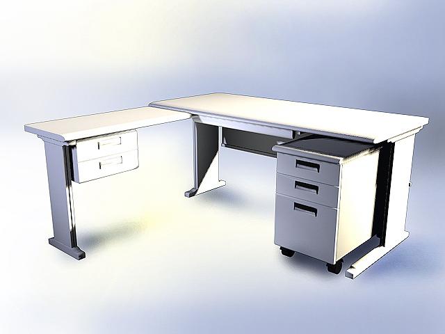 Modern White Office Desk 3d Model 3dsmax Autocad Files