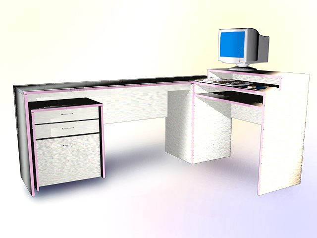 this office desk and computer 3d model available in 3dsmax and autocad