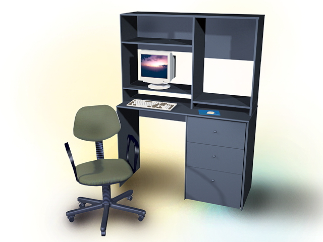 this computer table with shelves 3d model available in 3dsmax and