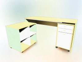 L shaped office desk with cabinets 3d preview