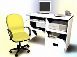 Traditional computer desk with computer and chair 3d model
