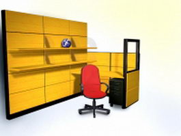 Office desk with bookshelf 3d model