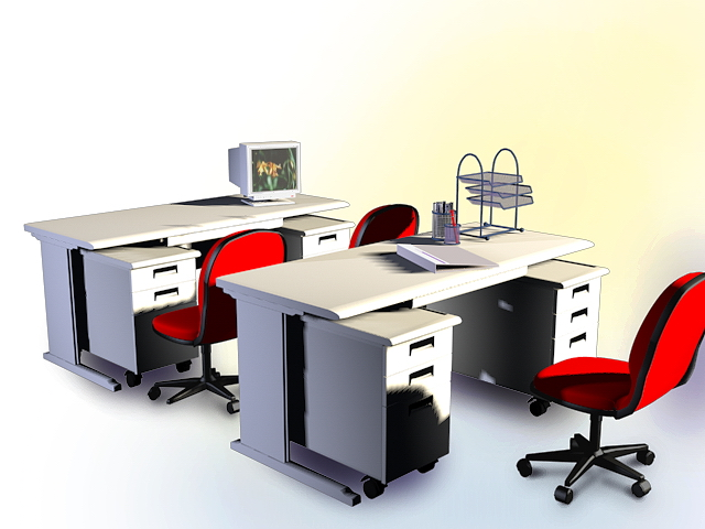 this office computer desk furniture collection 3d model available in