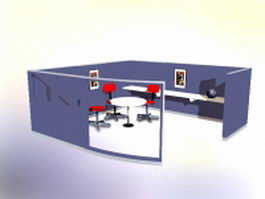 Office conference cubicles 3d model