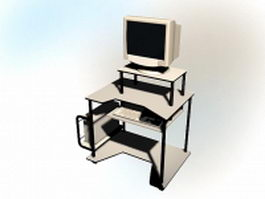Computer desk with computer 3d model