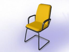Office cantilever chair with armrest 3d model