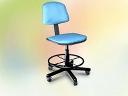 Blue task chair 3d model