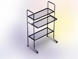 Three-tier rolling file cart 3d model