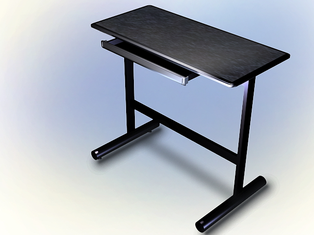 This Black Computer Desk 3D Model Available In 3dsMax And AutoCAD, Simple  Computer Desk With Keyboard Tray. Available 3D Object Format: